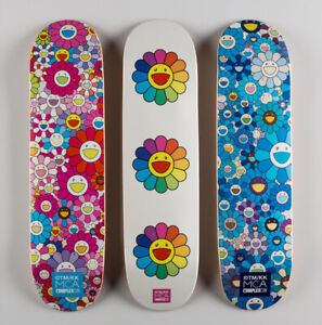 Takashi Murakami Complexcon Multiflower 8.0 Blue, White, Pink Skate Deck Set