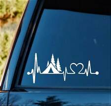 Camper Tent Heartbeat Lifeline Monitor Camping Decal Sticker Car Truck Laptop