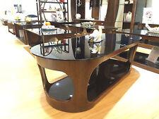 Modern Designer Coffee Table Walnut Veneer with Black Glass Oval Top