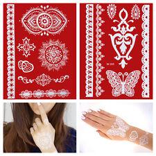 Flash White Lace Henna Tatuaggi Set Bianco Mano Dita Temporaneo Tatuaggio w299+305