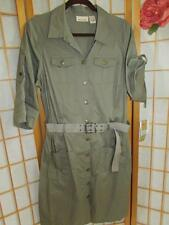 NEW Womens DKNY Jeans Army Green Utility Button Down Dress 16