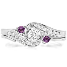 050 ct 10k white gold amethyst and white diamond bridal engagement ring set - Amethyst Wedding Ring