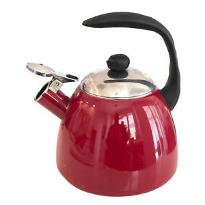 Farberware Garnet Bella 2.5-Quart Whistling Tea Kettle Red