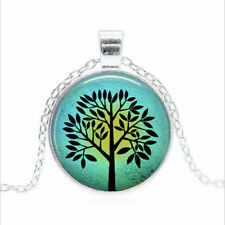 Sun & Turquoise Tree Tibet silver Glass dome Necklace chain Pendant Wholesale