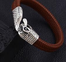 Massives rhodiniertes  Herren Armband 15 mm Leder braun , Armreif  Schlangenkopf