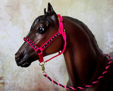 Silver Bling Halter & Lead (Hot Pink) for 1:9 (Breyer Traditional) Model Horse