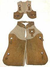 Vintage Halloween Costume Chaps Vest Suede Leather Western Cowboy Kids Size 8