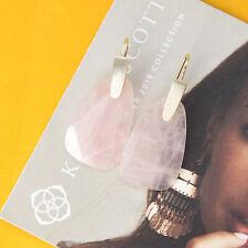 Kendra Scott Marty Gold Drop Earrings In Rose Quartz NEW