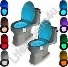 2-Pack : 8-Color LED Motion Sensing Automatic Toilet Bowl Night Light New in box
