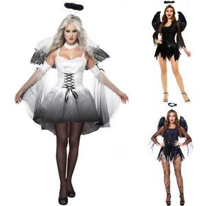 Halloween Dark Angel Devil Bride Cosplay Costume Adult Women Fancy Dress Outfits