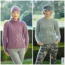 KNITTING PATTERN Ladies Cowl & Round Neck Cable Jumper &Hat Chunky KingCole 4281