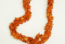 """Triple Strand Amber Small Chip Shape 2x5mm Smooth Uneven Gemstone Beads 21"""""""