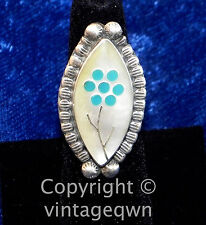 VTG SIGNED ZUNI RING Flower Turquoise Shell & Sterling Silver * LARGE * size 5.5