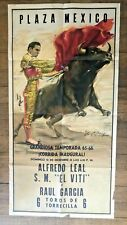 1963 Bull Fighting Poster from Plaza Mexico - Amazing Image of Matador and Bull