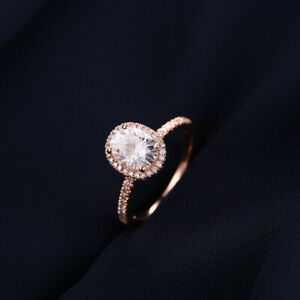 Anniversary Solid 18K Rose Gold Oval 8x6mm 1.5CT Natural Moissanite Fine Ring