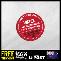 FIRE EXTINGUISHER STICKERS - WATER TO BE USED - Safety Stickers 150x150mm #FE003