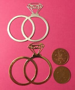 4 Large wedding  ring/ engagement ring Die Cuts 6.3 X 6.5 cm 2 Silver 2 Gold