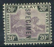 Malaya 1901 Mi. 21 Nuovo * 100% Saggio, 20 C, Tigre, filigrana 1