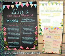 10 Itinerary Hen Party Weekend Invitation Cards Birthday Bunting Personalised