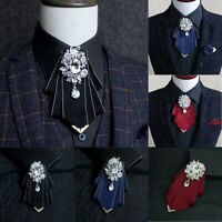 Men Handmade Rhinestone Bow Tie Bridal Wedding Party Charming Necktie + Gift Box