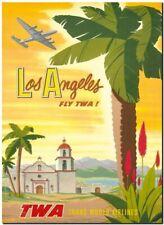"Cool Retro Travel Poster CANVAS ART PRINT ~ Los Angeles TWA yellow 8""X 10"""