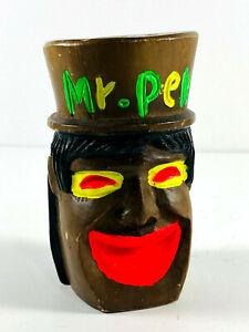 Vintage Folk Art Circus? Carnival? black brown Desk Pen Holder 60s 70s man