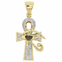 "14K Yellow Gold Finish Diamond Black Eye Horus Ankh Cross Pendant 1.85 Ct 1.5"""