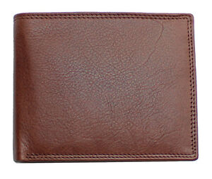 Topsum London Men RFID Real leather wallet ID Window, Zip Coin Pouch 4015 Brown