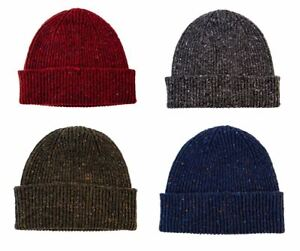 Donegal Wool Knitted Beanie Hat - made in Scotland - Grey, Red, Navy or Green