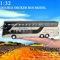1:32 Alloy Double Decker Bus Pull Back Model Night View Die Cast Toy With Sound