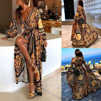 Plus Size Womens Boho Long Maxi Dress Loose Beach Holiday Casual Summer Kaftan