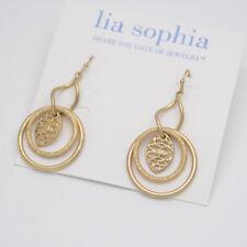Lia Sophia jewelry matte gold circle filigree twist drop dangle earrings hoop