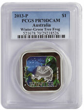 2013 PCGS PR70 1oz Australian Proof Silver Winter Frog Square Coin - Blue Label
