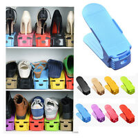 Adjustable Plastic Display Shoes Rack Twin-layer Storage Solutions Organizer New