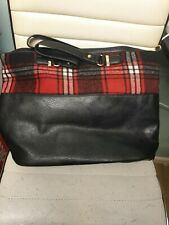Ladies Black Shoulder Bag With Checked Band
