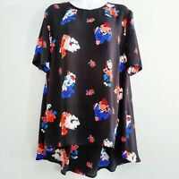 Vince Camuto Large Women's Black Floral Blouse Tunic Short Sleeved Semi-sheer