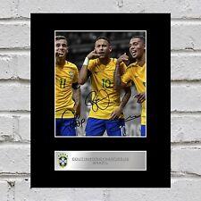 Philippe Coutinho, Neymar Jr, Gabriel Jesus Signed Mounted Photo Display Brazil