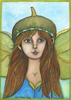 FAIRY ELF BLUE CHAMOMILLE AUTUMN GIRL ORIGINAL FOLK ART LISTED ARTIST PAINTING