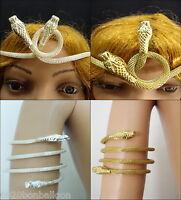 Egyptian cleopatra Cobra Crown Headband & Armlet Brass Belly Dance halloween new
