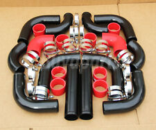 12x 2.5' Universal Turbo Intercooler Piping Kit, Black Pipe + Red coupler+Clamps