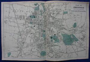 CHELTENHAM PLAN, STREET PLAN, original antique map, Bacon, 1884
