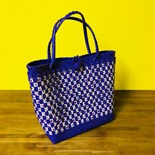 HANDMADE WOVEN PLASTIC HAND BAG IN PURPLE/WHITE LARGE