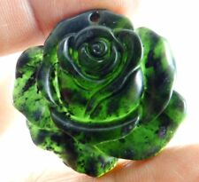 Natural 100% China black green jade hand-carved the flower pendant necklace