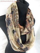 wholesale 10pcs shawl loop scarf retro flower print loop infinity scarf DL4