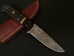 CUSTOM HAND MADE DAMASCUS STEEL BLADE HUNTING KNIFE CF-5607