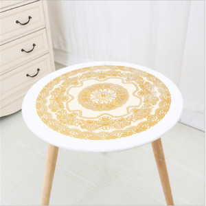 PVC Round Table Cloth Oil Free XiCha Several Table Cloth Gold Silver Table Cloth