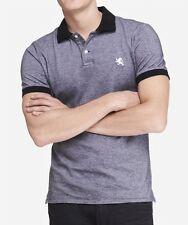 NWT【 L 】Express Men's Small Lion Logo Oxford Pique Polo Shirt OBSESSION BLUE