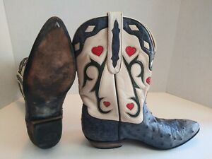Stallion Cowboy Western Boots Womens Size 8.5 C Ostritch Hearts Patriotic USA