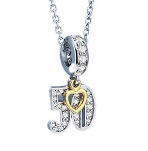 White Gold Finish 50th Birthday Created Diamond Charm Dubai Sahara Collection