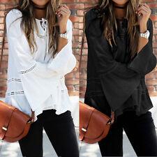 ZANZEA Women Casual Hollow Out Crochet Long Sleeve Tops Blouse Shirt Tee Blusas